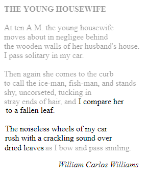 The Young Housewife poem, William Carlos Williams