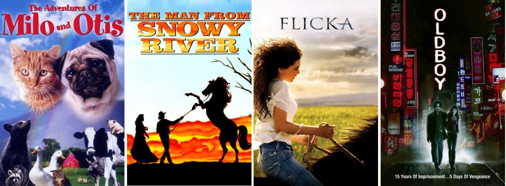 Four film titles (Milo and Otis, Snowy River, Flicka and OldBoy)